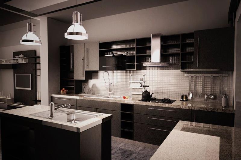 Elegant Dark Kitchens Granite Countertop Glass Tile Backsplash