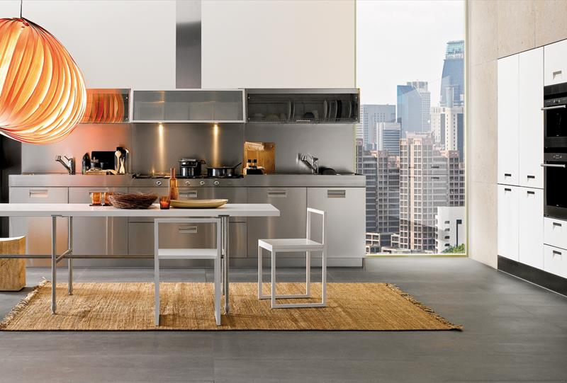 21 Sleek and Modern Metal Kitchen Designs-1