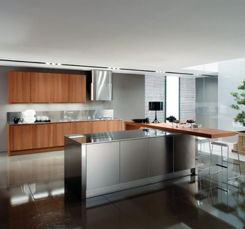 21 Sleek and Modern Metal Kitchen Designs-3