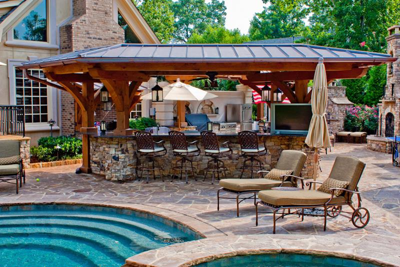 25 Outdoor Kitchen Designs That Will Light Up Your Grill-14
