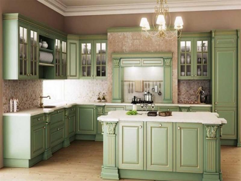 24 Pictures of Kitchens with Glass Cabinets-21