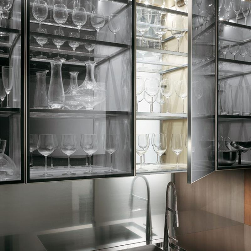 24 Pictures of Kitchens with Glass Cabinets-3