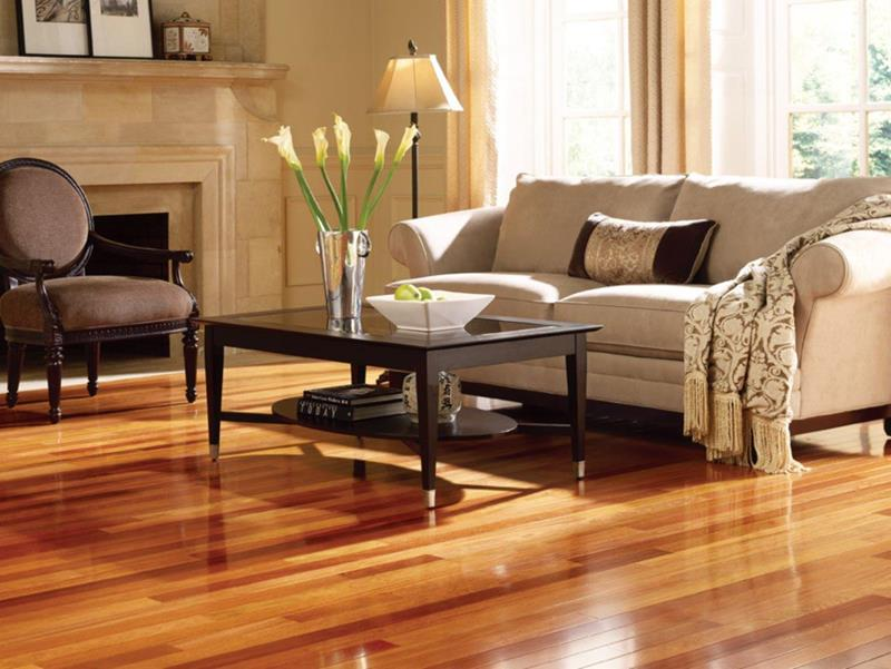 Fancy Living Room With Fireplace Glossy Cheap Hardwood Flooring