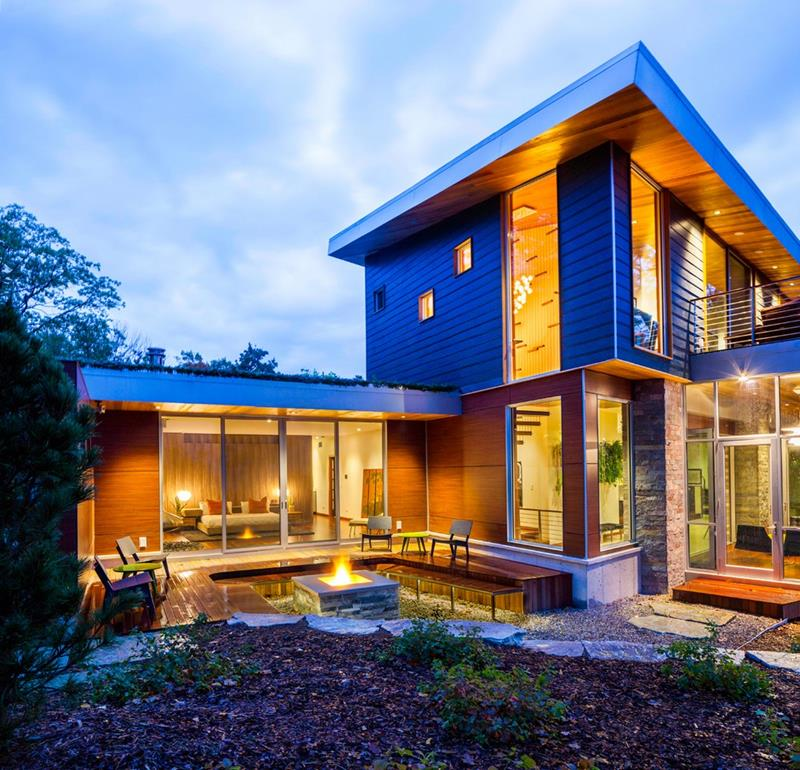 Amazing design M 22 House Michael Fitzhugh Exterior with Wooden Wall Design Combined with Glass Wall Design Ideas in Modern Touch