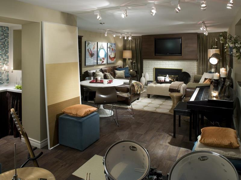 22 Finished Basement Contemporary Design Ideas-1