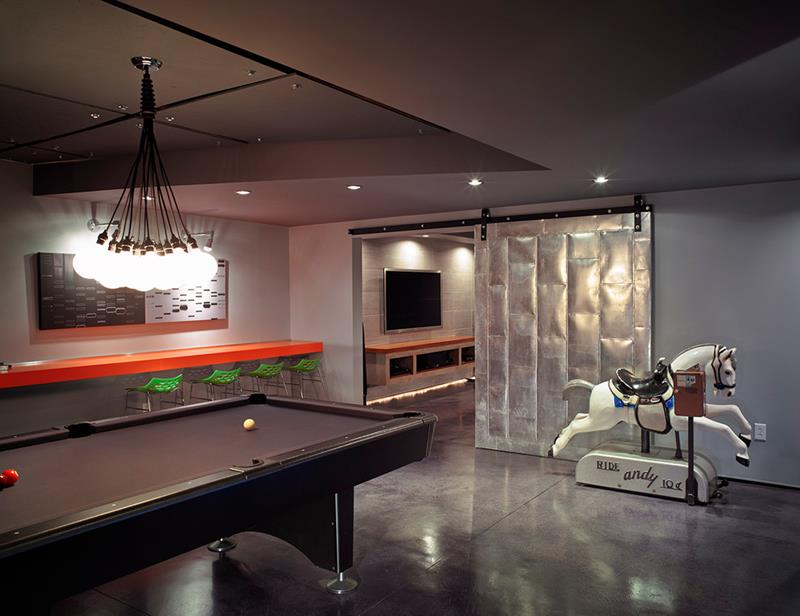 22 Finished Basement Contemporary Design Ideas-12