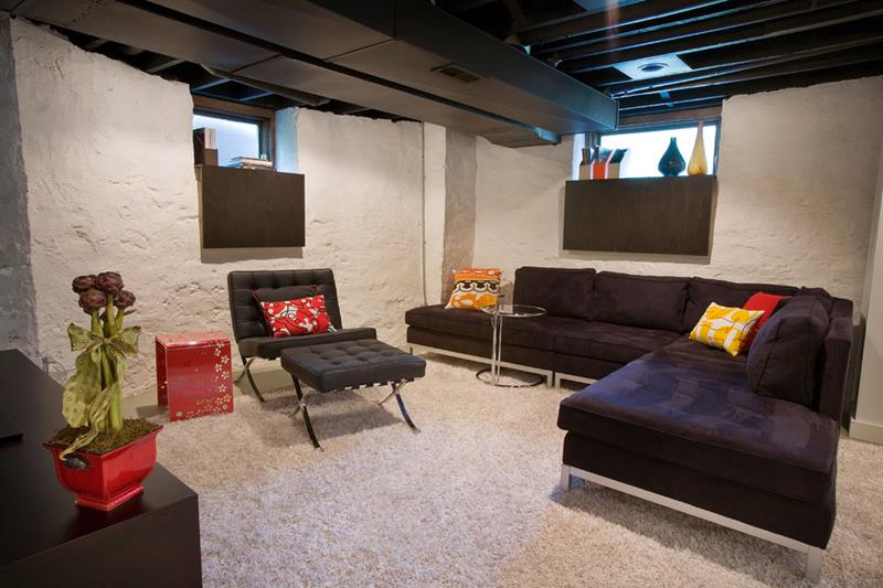 22 Finished Basement Contemporary Design Ideas-13