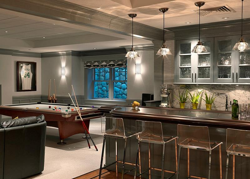 22 Finished Basement Contemporary Design Ideas-14