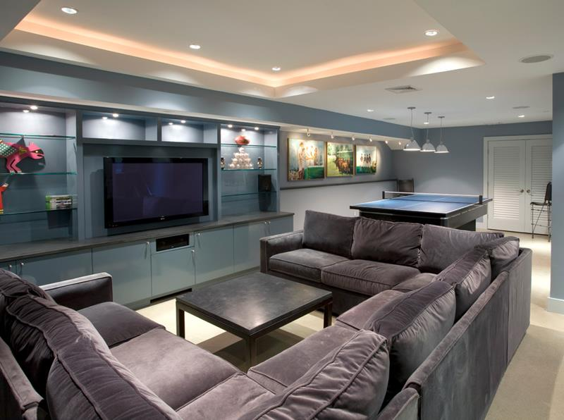 22 Finished Basement Contemporary Design Ideas-18