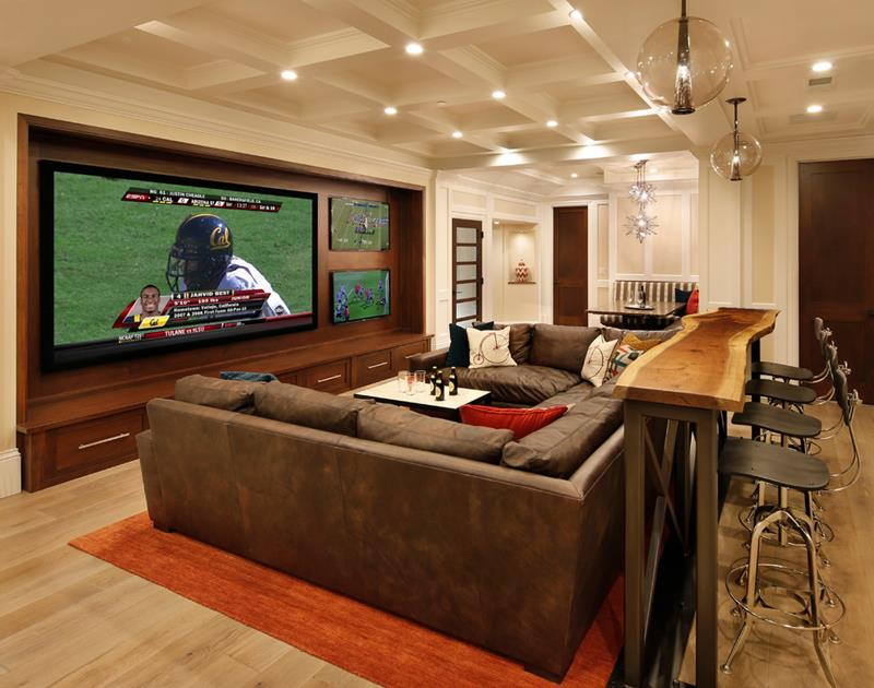 22 Finished Basement Contemporary Design Ideas-19
