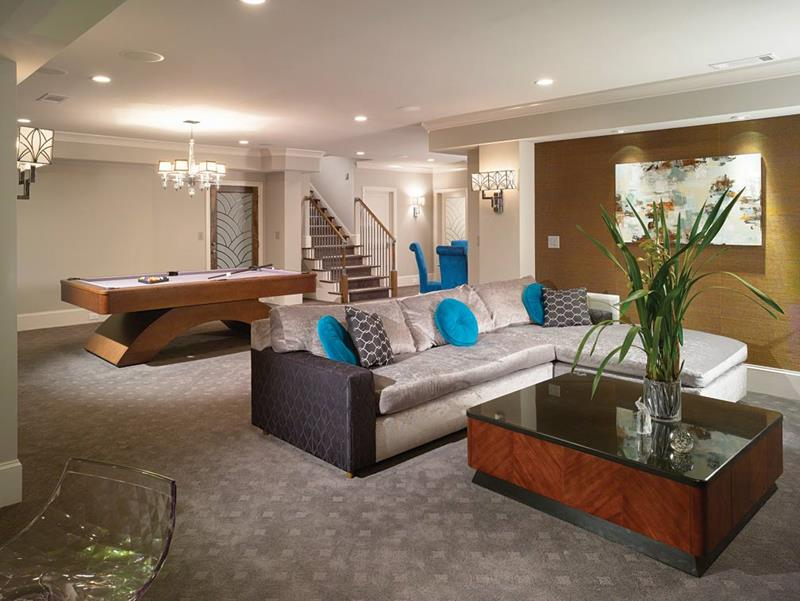22 Finished Basement Contemporary Design Ideas-3