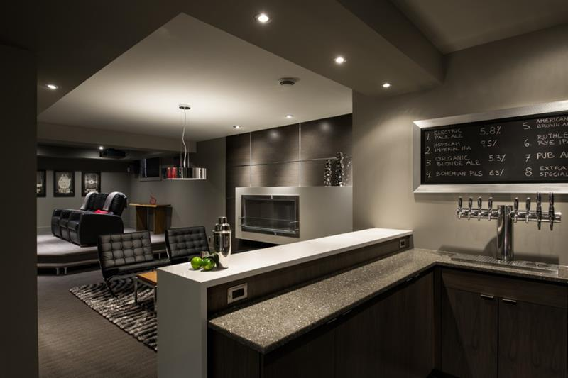22 Finished Basement Contemporary Design Ideas-5
