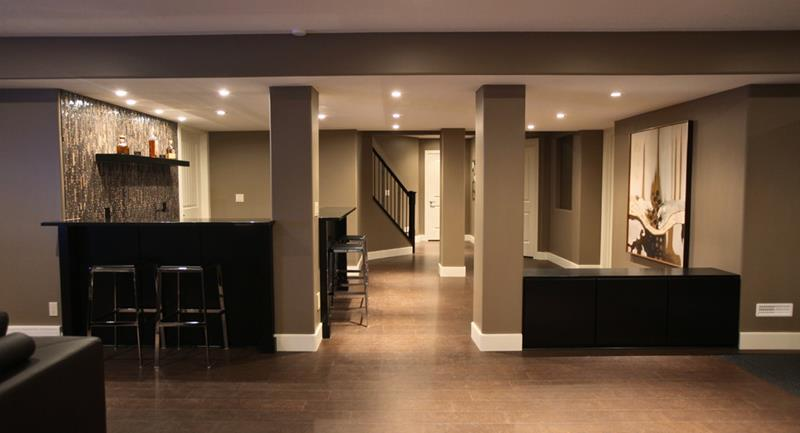 22 Finished Basement Contemporary Design Ideas-7