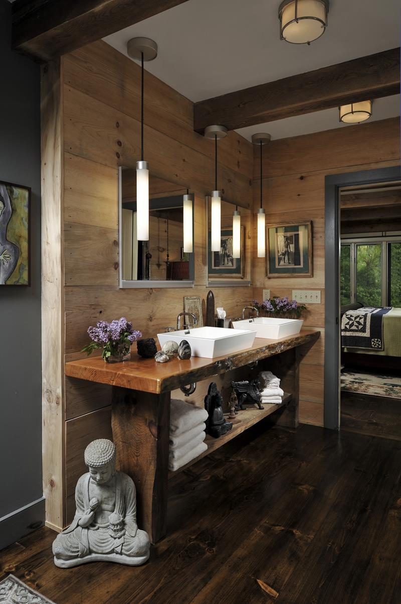 26 Beautiful Wood Master Bathroom Designs-19