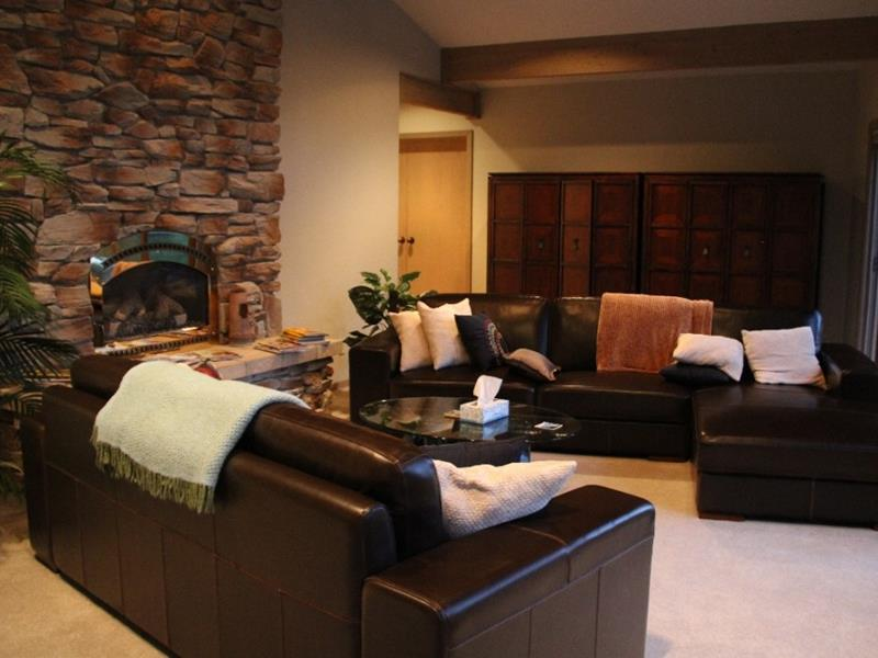 Cozy Living Room with Black Sofa