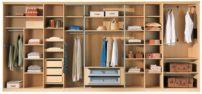 Tidy Clothes Storage Wooden Wardrobe Colorful Clothes Wooden Shelves