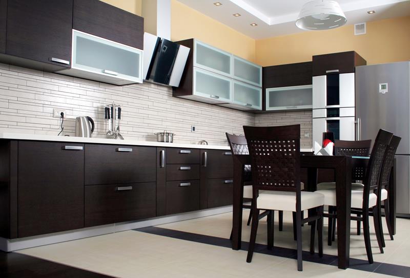Modern kitchen itnerior shot with studio light