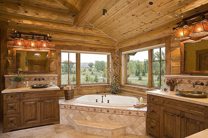 Interior, horizontal, master bathroom, Cronacher residence, Jackson, Wyoming, Ellis Nunn & Associates, Teton Heritage Builders, Laurie Waterhouse Interiors