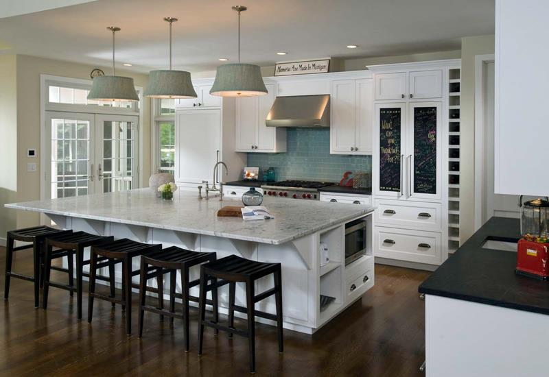 White Kitchen Interior with Wooden Floor