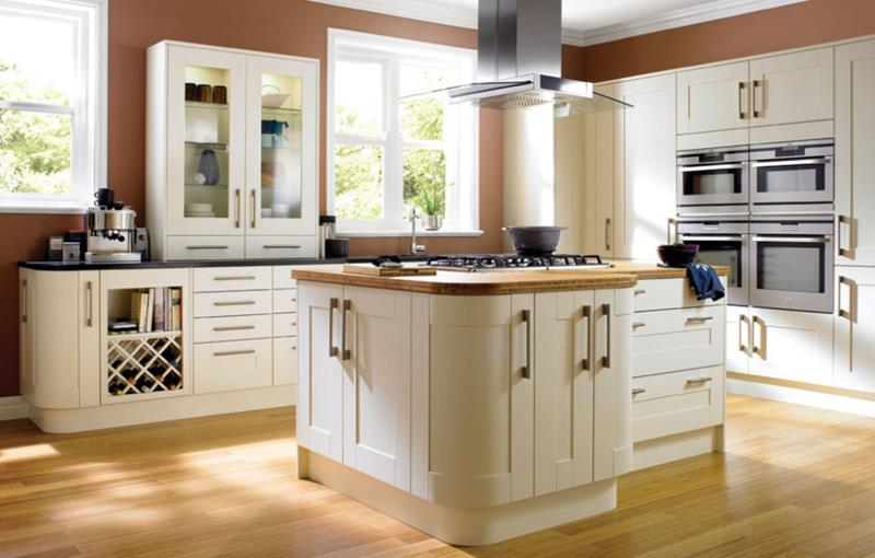 White Dream Kitchen with Wooden Floor
