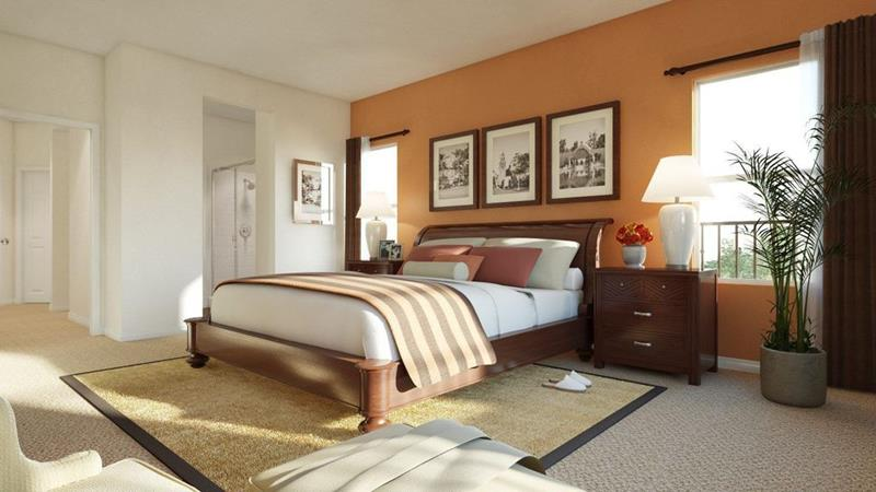 15 eye catching master bedroom accent walls - Burnt orange accent wall ...