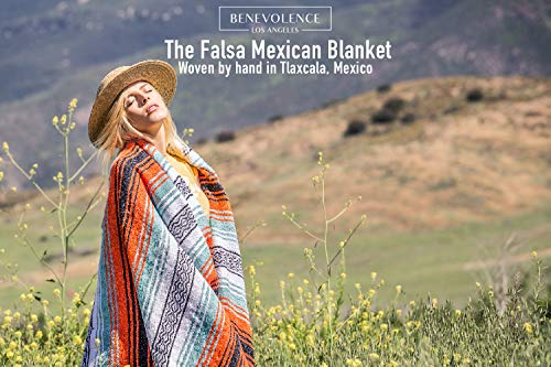 Mexican Blanket – Authentic Falsa Thick Soft Woven Serape for Yoga or as Beach Throw, Picnic, Camping, Travel, Hiking, Adventure Orange (Mandarin)