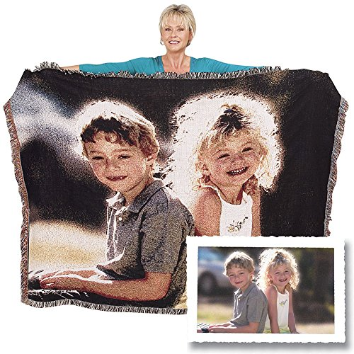 Woven Photo Throw Blanket Full Size 60×80 custom made from your photos. This woven photo throw blanket has your photos weaved into the throw. No cracking or fading, machine washable and drier safe.